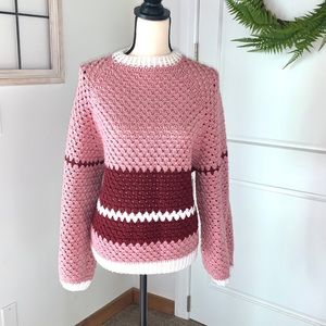 Homemade Crocheted Maroon Balloon Sleeve Sweater